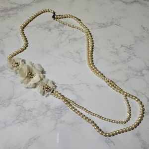 Forever 21 Floral Layered Pearl Necklace